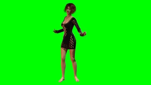 Forró lány szexi ruhában táncol - zöld képernyő - loopable