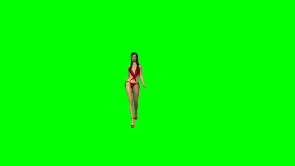 Szexi lány-ban Bikini sétál - zöld képernyő