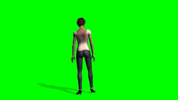 Zombie girl na zeleném pozadí