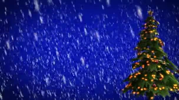 Vánoční strom na modrém pozadí