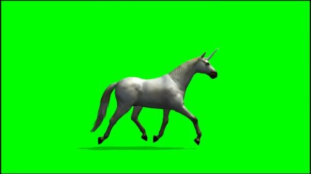 Jednorožec běží na zeleném pozadí