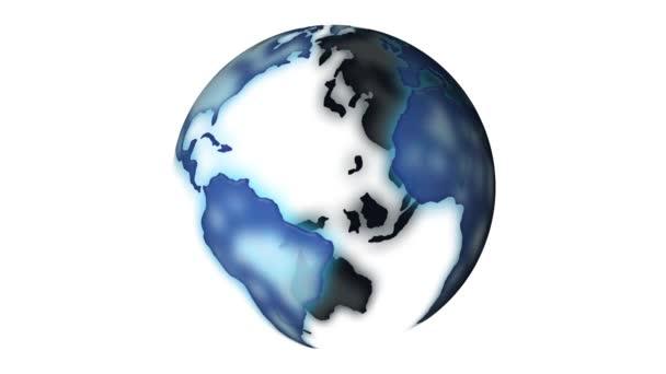 Globe rotating on white background