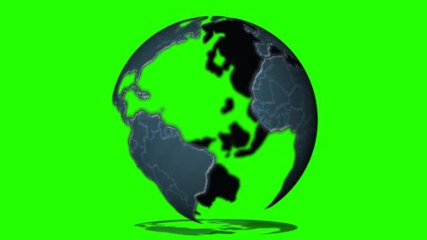 Zeměkoule otáčí na zeleném pozadí