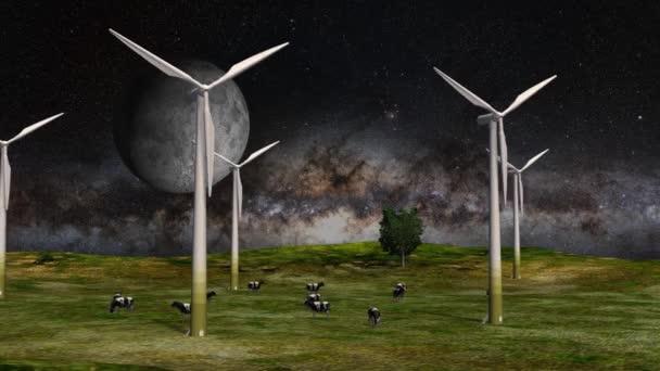 Windkraftanlagen und Kühe auf dem Feld auf der Erde im All