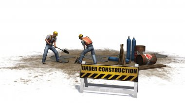 Construction workers behind under construction sign