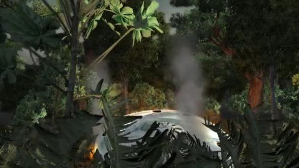 Havarované létající talíř v lese