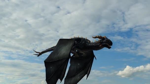 Dragon flys in sky