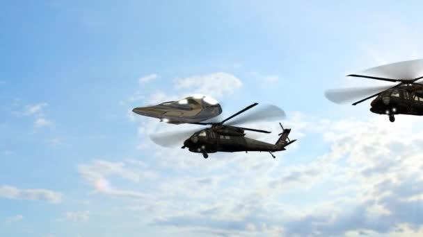 Létající talíř a vrtulníků proti obloze