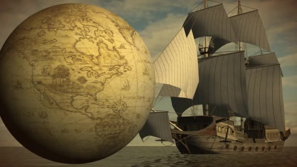 Rotating globe with ship in sea
