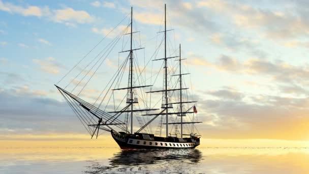 Vitorlás hajó a naplementében