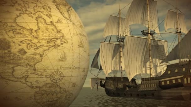 Rotující koule s lodí v moři