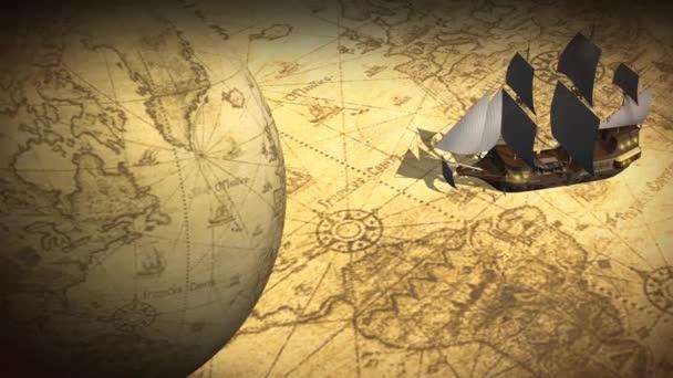Forgó földgömb és a Térkép a hajó