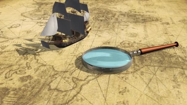 Map with ship and magnifying glass