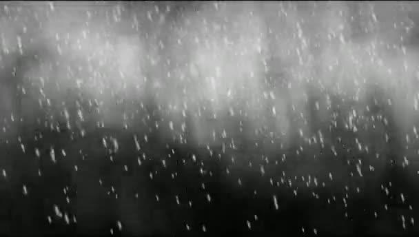 Schneeflocken fallen auf schwarzem Hintergrund