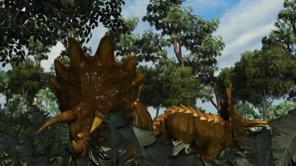 Triceratops in a prehistoric scene