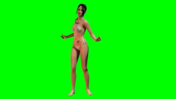 Forró szexi lány táncol a Bikini