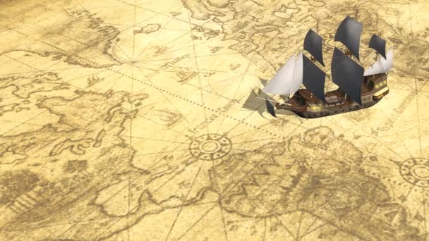 Map of the world with old sailing ship