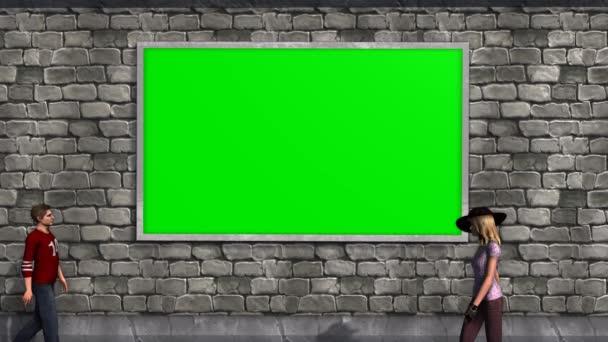 Zeď s zelená obrazovka