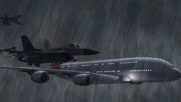 Airbus A380 escorted by F-16 fighter jets