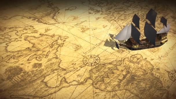 A régi vitorlás hajó világtérkép