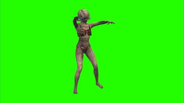 zombie girl on green screen