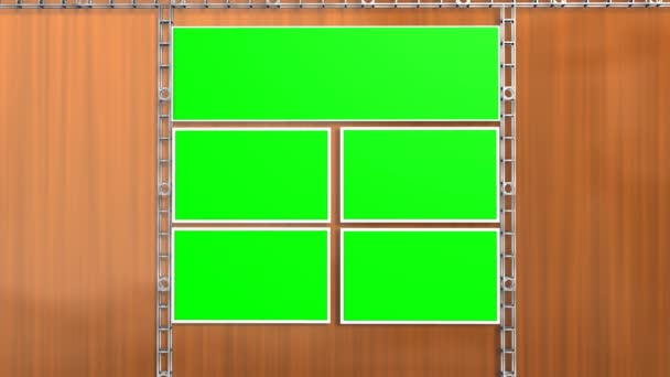 Studio with green screen video wall background