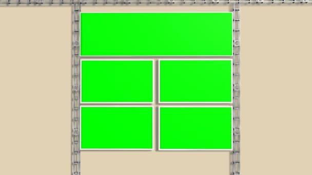 Studio con sfondo verde videowall