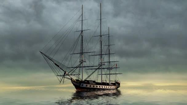 Vitorlás hajó a vihar felhők