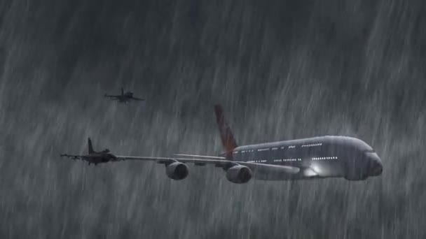 Airbus A380 scortato da caccia F-16 getti