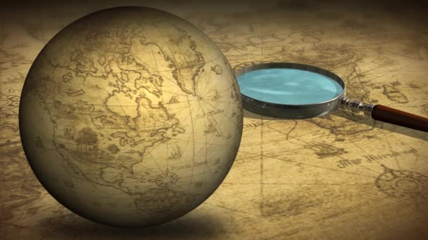 Rotating globe with magnifying glass