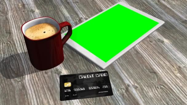 Tablet PC, credit card on table