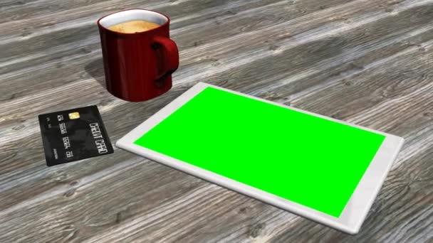 Tablet-PC, Kreditkarte auf dem Tisch