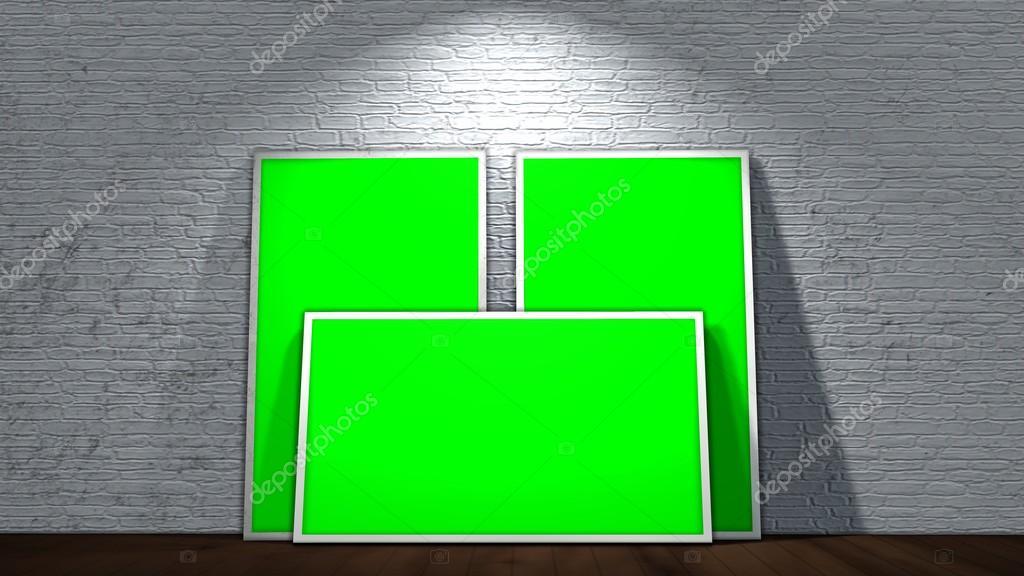 drei grüne Siebrahmen auf alte Mauer und Holzboden mit Strahlern ...