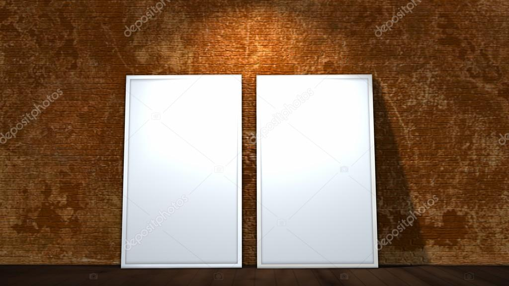 two blank screen frames on old brick wall and wooden floor ...