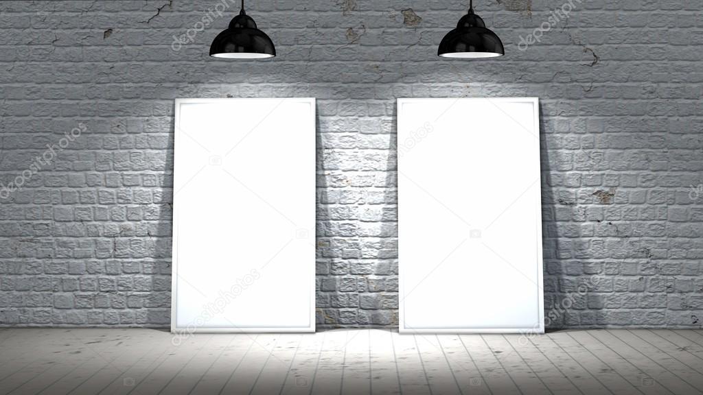 zwei leere Siebrahmen auf alte Mauer und Holzboden mit Strahlern ...