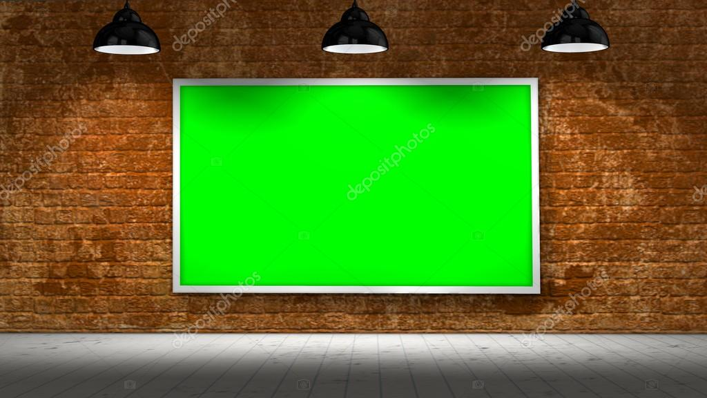 Green-Screen Frame auf alte Ziegelmauer und Holzboden mit ...