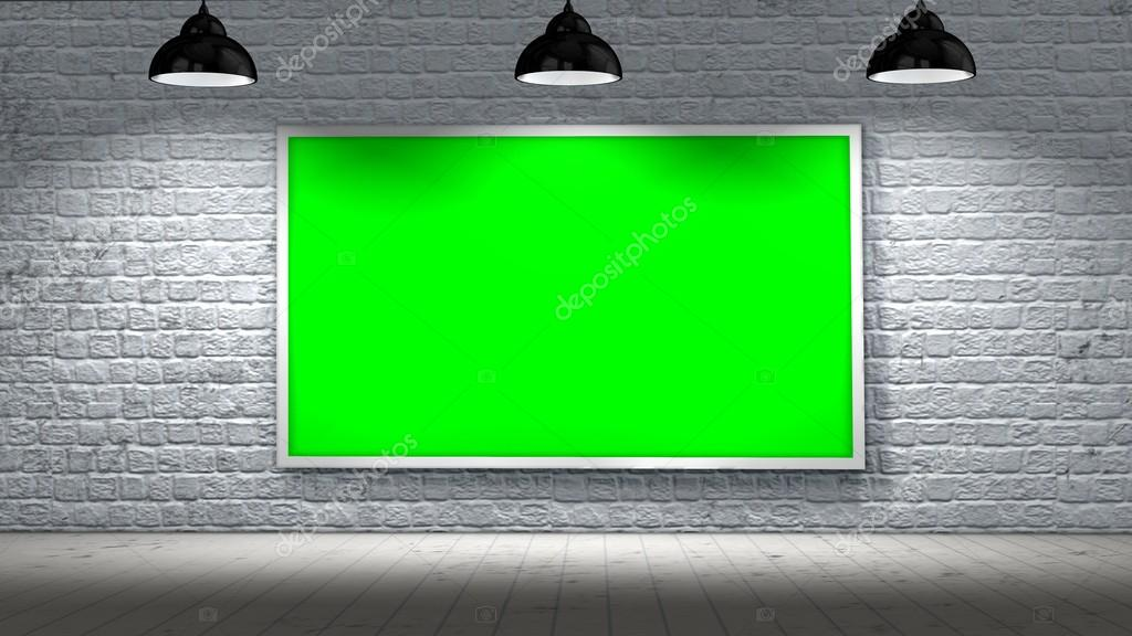 green screen frame on old brick wall and wooden floor