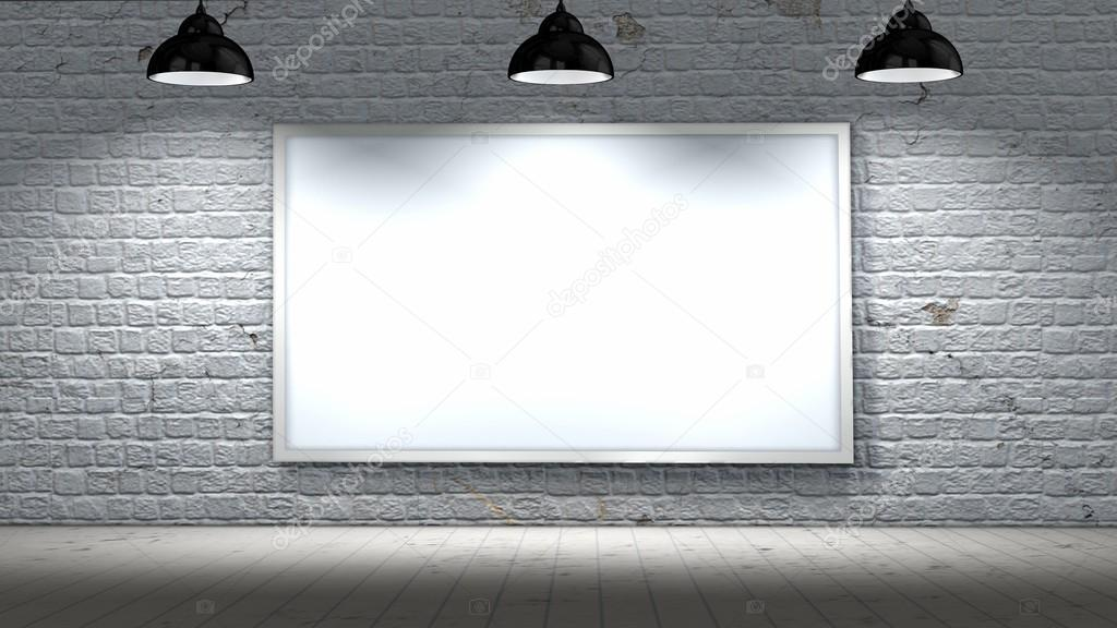 Blank Frame On Old Brick Wall And Wooden Floor Illuminated With Spotlight Photo By Bestgreenscreen