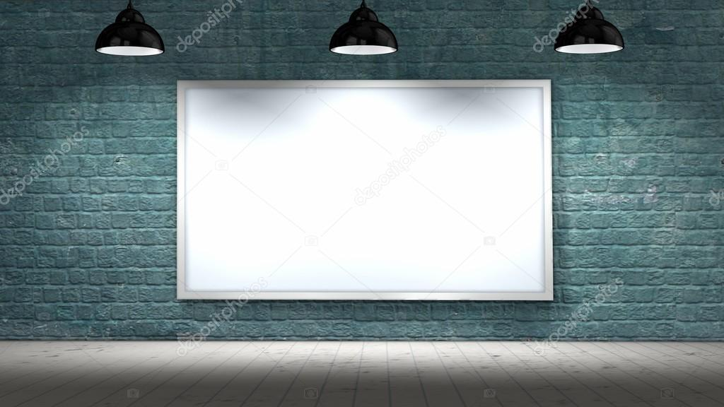 blank frame on old brick wall and wooden floor illuminated with ...