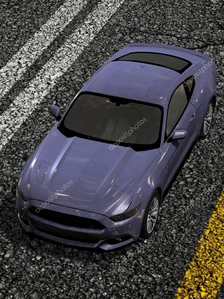 Modern Muscle Car Sports Car On Street Top View Stock Photo