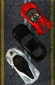 Photo three luxury Sports Cars on sphalt street - top view