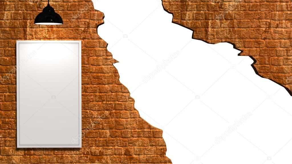 agujero blanco en pared de ladrillo antiguo con marco en blanco ...