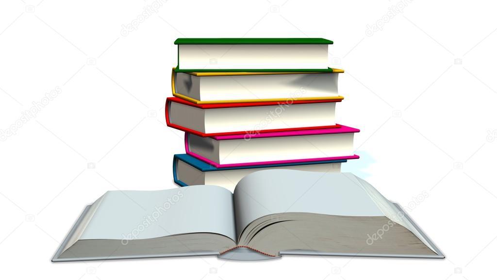 libro en blanco abierto y los libros de colores — Fotos de Stock ...