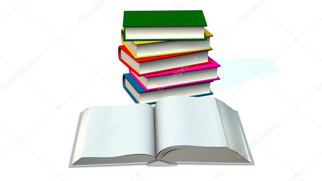 Öffnen Sie leere Buch und farbigen Bücher — Stockfoto ...