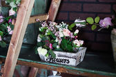 Photo basket with artificial flowers, beautiful Provence