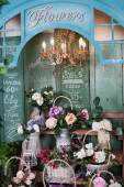 Photo flower shop, peonies, roses, artificial flowers