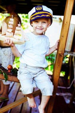 Boy captain smile joy cute fun laughing