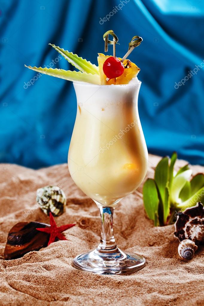 Tropical pineapple milkshake sand leaves Cherry beach sea ocean of ice, cool, bar, alcohol, Pina Colada