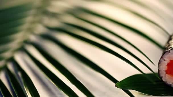 mini kappa maki Roll Sushi tropical leaves still life white boards for the restaurant menu