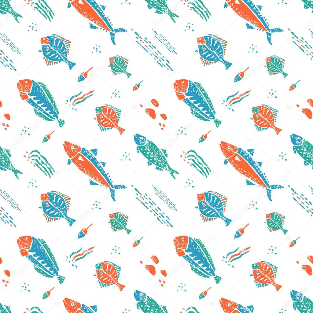 Underwater pattern in naive lino style